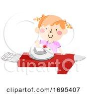 Kid Girl Ironing Shirt Illustration