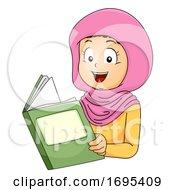 Poster, Art Print Of Kid Girl Muslim Book Illustration