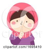 Kid Girl Muslim Silence Gesture No Talking