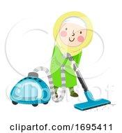Kid Girl Muslim Vacuuming Illustration