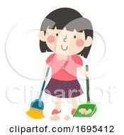 Poster, Art Print Of Kid Girl Sweep Floor Illustration