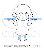 Poster, Art Print Of Kid Girl Weigh Both Hands Illustration