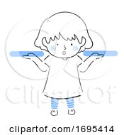 Kid Girl Weigh Both Hands Illustration