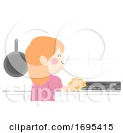 Kid Girl Wiping Kitchen Counter Illustration