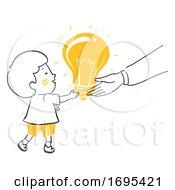 Poster, Art Print Of Kid Boy Adult Give Idea Illustration