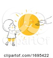 Kid Boy Adult Give Sunshine Illustration