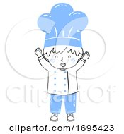 Poster, Art Print Of Kid Boy Chef Happy Illustration