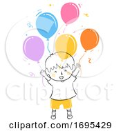 Kid Boy Happy Balloons Illustration