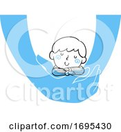 Kid Boy Held Sleeping Illustration