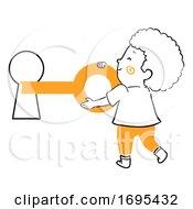 Kid Boy Key Open Key Hole Illustration