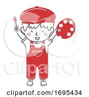 Poster, Art Print Of Kid Boy Painter Happy Illustration