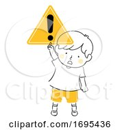 Kid Boy Safety Symbol Caution Illustration