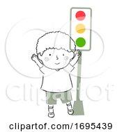 Poster, Art Print Of Kid Boy Safety Traffic Light Illustration