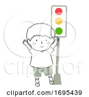 Kid Boy Safety Traffic Light Illustration