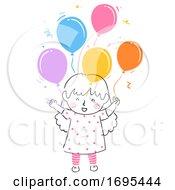 Kid Girl Happy Balloons Illustration