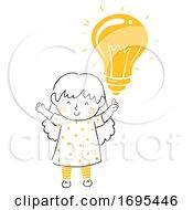 Kid Girl Idea Light Bulb Illustration