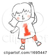 Kid Girl Number Illustration