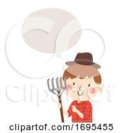 Poster, Art Print Of Kid Boy Farmer Rake Speech Bubble Illustration