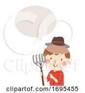 Kid Boy Farmer Rake Speech Bubble Illustration