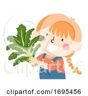 Poster, Art Print Of Kid Girl Hold Kale Superfood Illustration