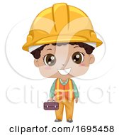 Poster, Art Print Of Kid Boy Black Construction Engineer Illustration