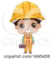 Kid Boy Black Construction Engineer Illustration