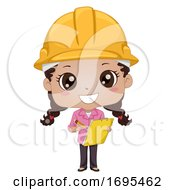 Kid Girl Black Engineer Construction Illustration