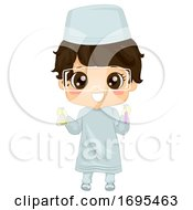 Kid Boy Muslim Hold Flask Test Tube Illustration