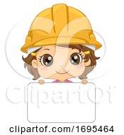 Kid Girl Engineer Name Tag Illustration