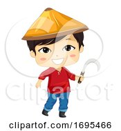 Kid Boy Asian Farmer Sickle Illustration