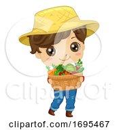 Poster, Art Print Of Kid Boy Farmer Carry Vegetables Illustration