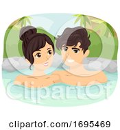 Teen Couple Onsen Bath Outdoor Illustration