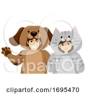 Poster, Art Print Of Teen Couple Domestic Animal Costume Illustration