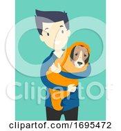 Man Animal Rescue Dog Illustration