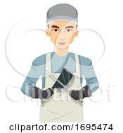 Poster, Art Print Of Man Butcher Work Uniform Illustration