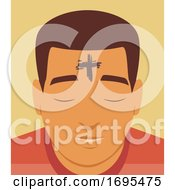 Man Cross Forehead Ash Wednesday Illustration