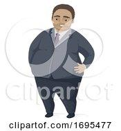 Man Fat Black Suit Illustration