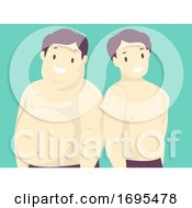 Man Fat Fit Illustration