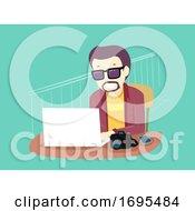 Man Hobby Blogging Laptop Illustration