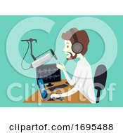 Man Hobby Podcasting Laptop Mic Illustration