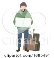 Man Homeless Board Bags Illustration