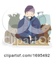 Man Homeless Dog Pet Bags Illustration