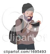 Man Homeless Empty Wallet Illustration
