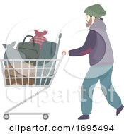 Man Homeless Moving Place Illustration
