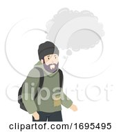 Man Homeless Thinking Cloud Illustration