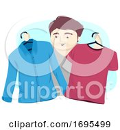 Man Pick Clothes Illustration