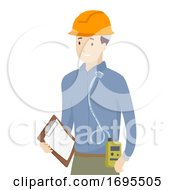 Man Worker Personal Air Sampling Illustration