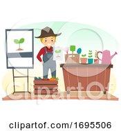 Poster, Art Print Of Stickman Man Gardening Speaker Illustration