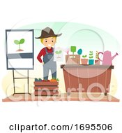 Stickman Man Gardening Speaker Illustration