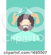 Poster, Art Print Of Man Barber Shop Grooming Illustration